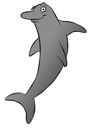 dorsal: A cute, grinning cartoon dolphin. Could be swimming or jumping.