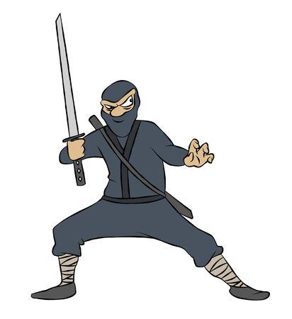 Een strip verhaal ninja met zwaard getekend, klaar om te pounce. Stockfoto