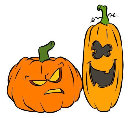 A couple of silly Jack-O-Lanterns Stock fotó