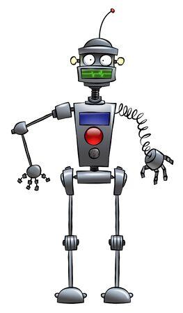 Een rare ogende cartoon robot. Nuttig rond het Huis. Stockfoto
