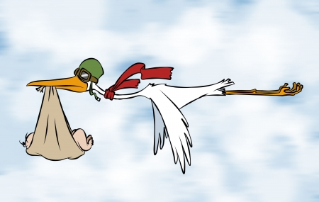 A stork delivering a special delivery to an unknown destination.