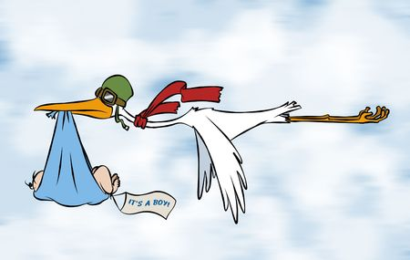 its a boy: A stork delivering a special delivery to an unknown destination. But we do know its a boy.