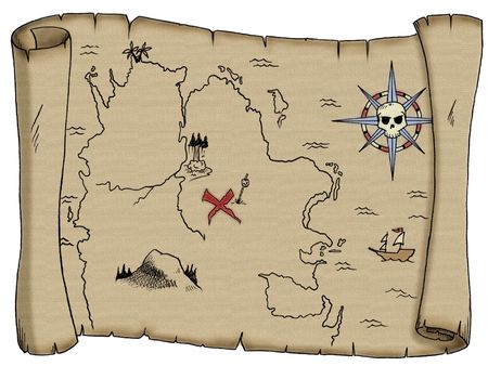booty: A tattered, blank pirate treasure map. Stock Photo