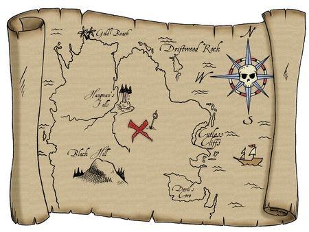 묻혀있는 해적 보물로 이어지는 레이블이 지정된 랜드 마크가있는 너덜 된지도.