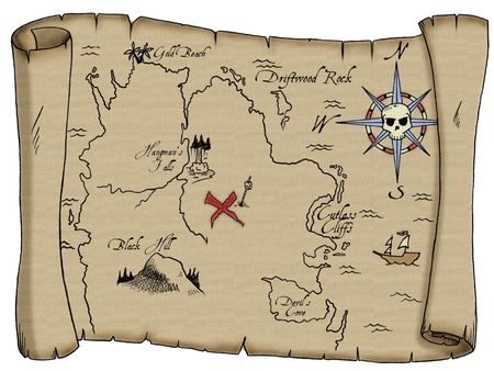 buried: A tattered map with labeled landmarks leading to buried pirate treasure.  Stock Photo