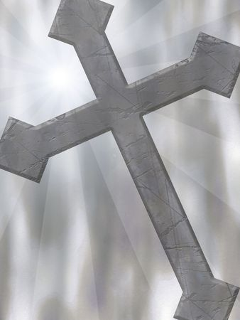 A background with an old cross and beams of light.