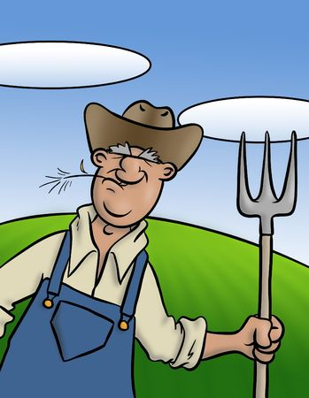 trusty: An old farmer with his trusty pitch fork. Stock Photo