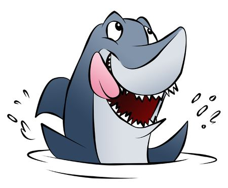 or hungry: A hungry cartoon shark splashing in the water.