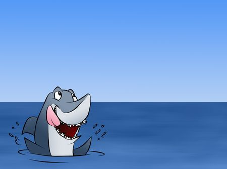 A hungry shark excited about whatever news is floating above him.  Фото со стока