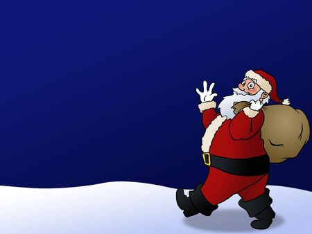 Santa smiling and waving on a blue background.