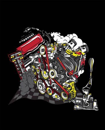 checker flag: Racing team T-shirt Design