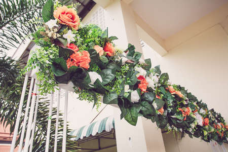 wedding backdrop: Beautiful backdrop flowers  for wedding ceremony. Stock Photo