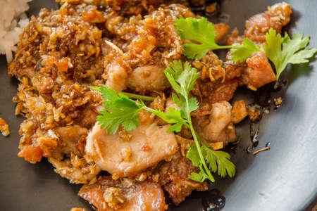 crunchy: Thai style food, pork fried with crunchy garlic,soft focus.