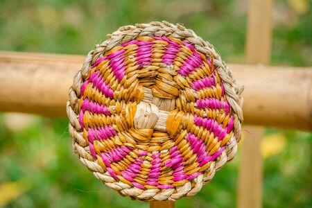 birchbark: Abstract decorative wooden round striped textured weaving.