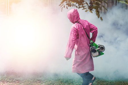 aedes: Fumigate mosquito-killing to prevent dengue with sunrise. Soft focus.