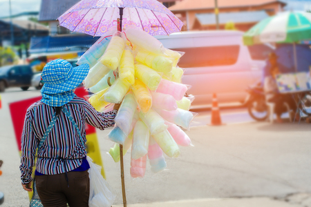 Woman selling cotton candy