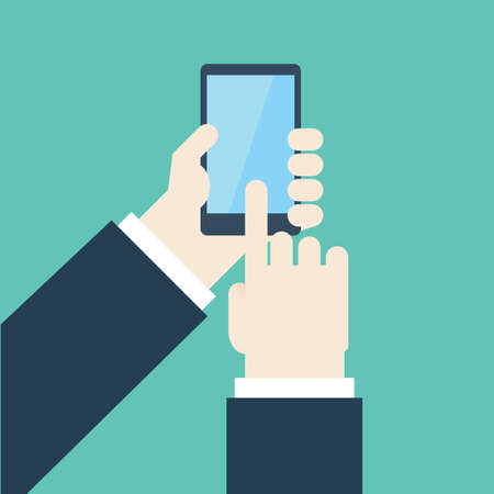 touch screen phone: Touch Screen, Right hand of businessman is using mobile phone on green background ,and left hand of businessman is holding mobile phone on green background.