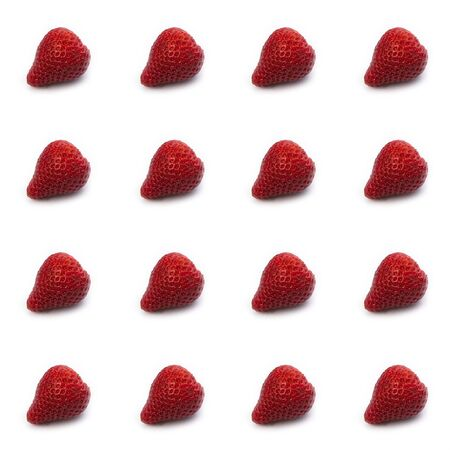 a lot of fresh strawberries without green petals on a white background in the form of a pattern