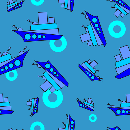battleship: cartoon Battleship, Seamless pattern, sea, life buoy, sweet kids background Illustration