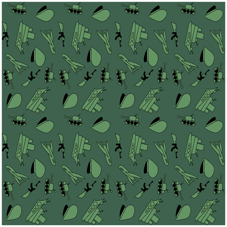 tank ship: Military Background army seamless pattern. Tank, plane, cap, weapons, military ship. February 23