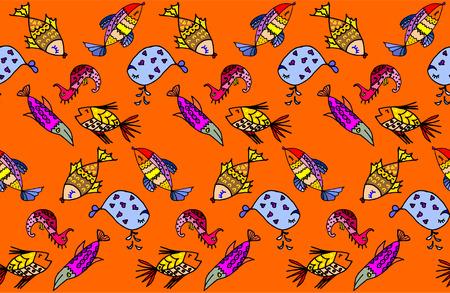 algae cartoon: Cartoon fish, illustration of various marine animals, fish, whale, algae, backgrounds, seamless pattern,