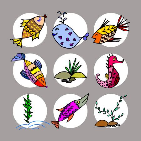 algae cartoon: Cartoon fish, illustration of various marine animals, fish, whale, algae, backgrounds,  set of marine animals Illustration