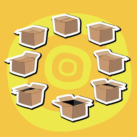 closing: Cartoon box, sects, vector image opening and closing of a cardboard box
