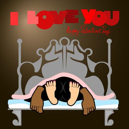Valentine, alegre inusual tarjeta del día de San Valentín, un divertido, fondo oscuro, el sexo en una cama, el amor y las relaciones entre las personas, te quiero. Hombre y mujer en la cama en la oscuridad. funny valentine