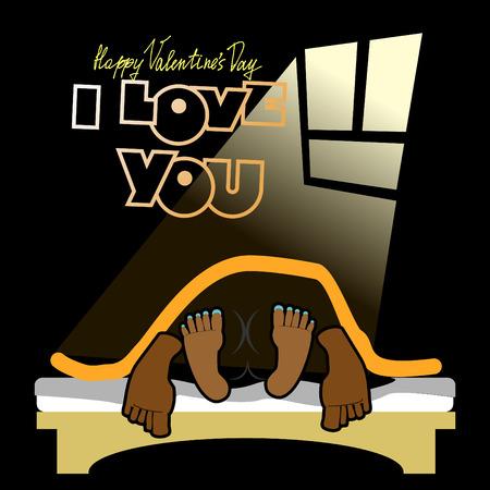Valentine, alegre inusual tarjeta del día de San Valentín, un divertido, fondo oscuro, el sexo en una cama, el amor y las relaciones entre las personas, te quiero. Hombre y mujer en la cama en la oscuridad. funny valentine Ilustración de vector