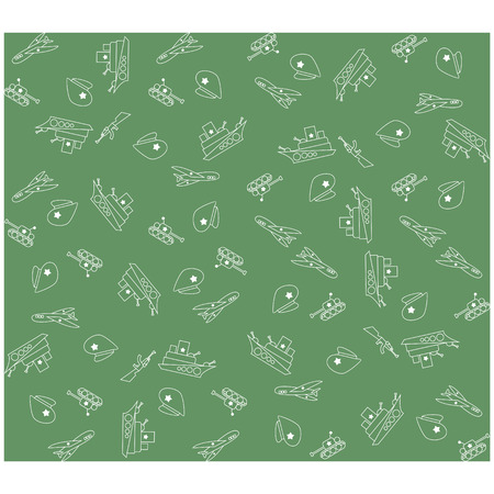 february: Military Background army seamless pattern. Tank, plane, cap, weapons, military ship. February 23