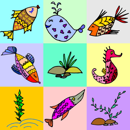 algae cartoon: Cartoon fish, illustration of various marine animals, fish, whale, algae, set of marine animals