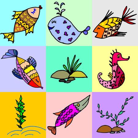 Cartoon fish, illustration of various marine animals, fish, whale, algae, set of marine animals