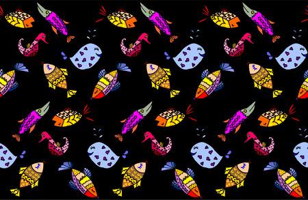 algae cartoon: Cartoon fish, illustration of various marine animals, fish, whale, algae, backgrounds