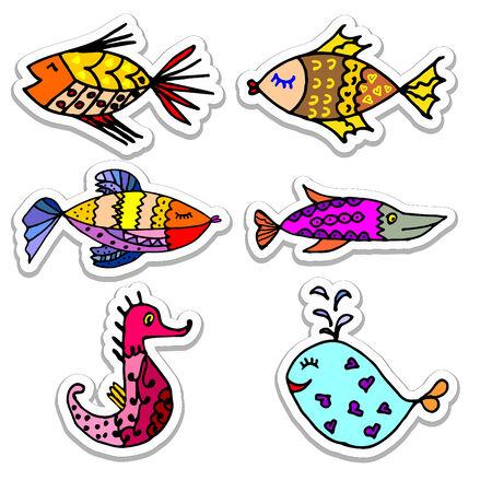 algae cartoon: Cartoon fish, illustration of various marine animals, fish, whale, algae, a set of stickers, set of marine animals