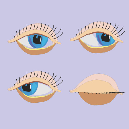geschlossene augen: Vektor Cartoon Augen, geschlossenen Augen, Seth Illustration