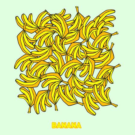 bananas pattern background, cartoon cheerful  bananas, sweet kids background Vector