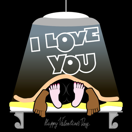 Valentine, joyful unusual Valentines Day Card, a funny, dark background, sex on a bed, love and relationships between people, I love you.On the bed in the dark. valentine funny