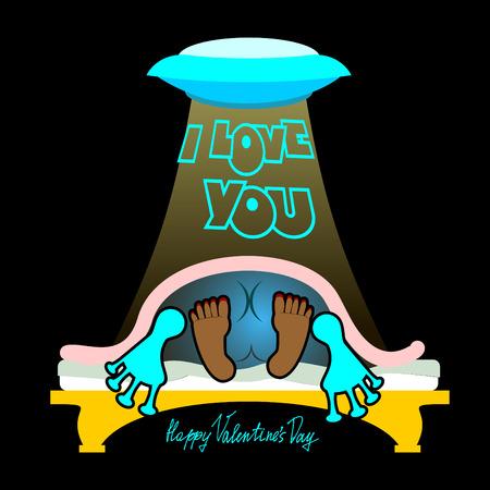 Valentine, alegre inusual tarjeta del día de San Valentín, un divertido, fondo oscuro, el sexo en una cama, el amor y las relaciones entre la gente, me encanta you.On la cama en la oscuridad. funny valentine