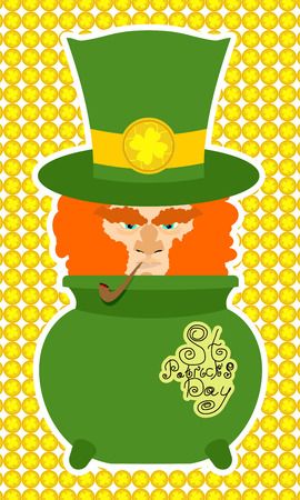 leprechaun background: Card St. Patrick Day. Portrait of a leprechaun. Background St. Patrick\\
