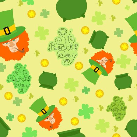 Card St. Patrick Day. Portrait of a leprechaun. Background St. Patrick\ Vector