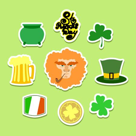 leprechaun: Set of icons and symbols for Patrick