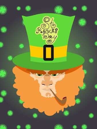 leprechaun background: Card St. Patricks Day. Portrait of a leprechaun. Background St. Patricks Day. A bearded old man with a pipe, shamrock, coins. A long beard Illustration