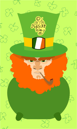 Card St. Patricks Day. Portrait of a leprechaun. Background St. Patricks Day. A bearded old man with a pipe, shamrock, coins. A long beard Vector