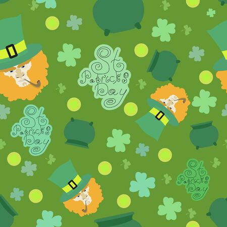 St. Patricks Day card. St. Patricks Day background. Seamless pattern with Monteith, shamrock, pot, hat Vector