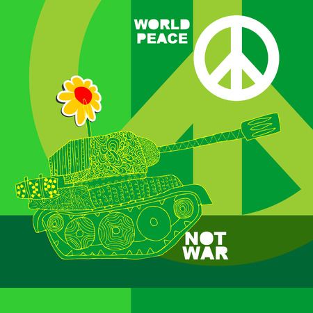 no war: No war Postcard, poster. hippie background. world peace. Cartoon tank