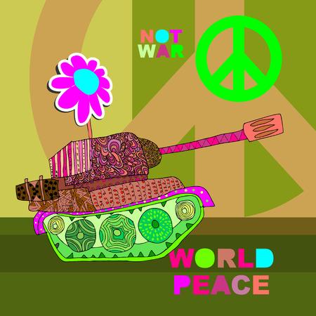 No war Postcard, poster. hippie background. world peace. Cartoon tank