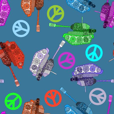 tanque de guerra: No a la guerra. Tanque sin patr�n. fondo hippie. la paz mundial Vectores