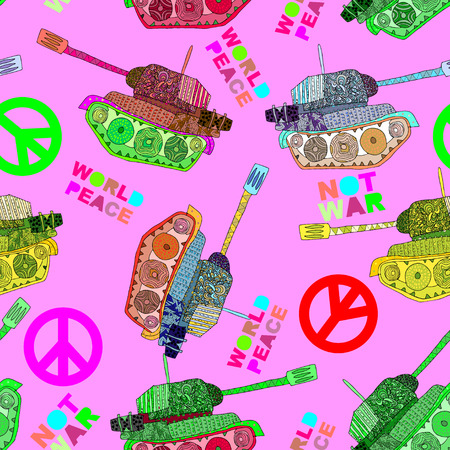 world peace: No war. Tank seamless pattern. hippie background. world peace
