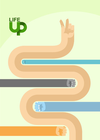 way up: graphics for business magazine. Business illustration. Makes its way out of the competition. Bypasses the obstacles.Business is up. Vector illustration. Illustration
