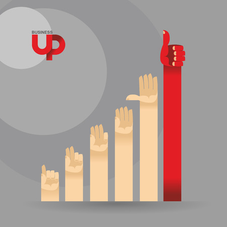bar graph: graphics for business magazine. Business illustration. Makes its way out of the competition. Bypasses the obstacles.Business is up. Vector illustration. Illustration